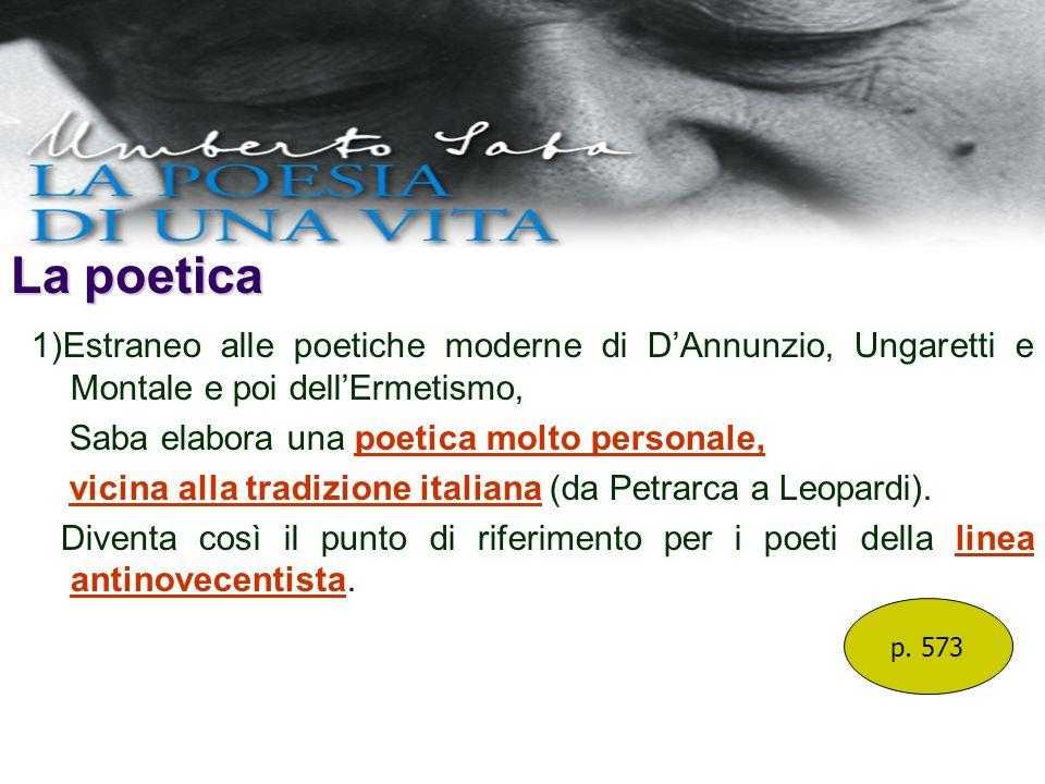 La poetica 1)Estraneo alle poetiche moderne di D'Annunzio, Ungaretti e Montale e poi dell'Ermetismo,