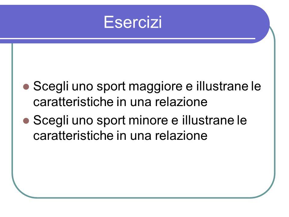 Esercizi Scegli uno sport maggiore e illustrane le caratteristiche in una relazione.