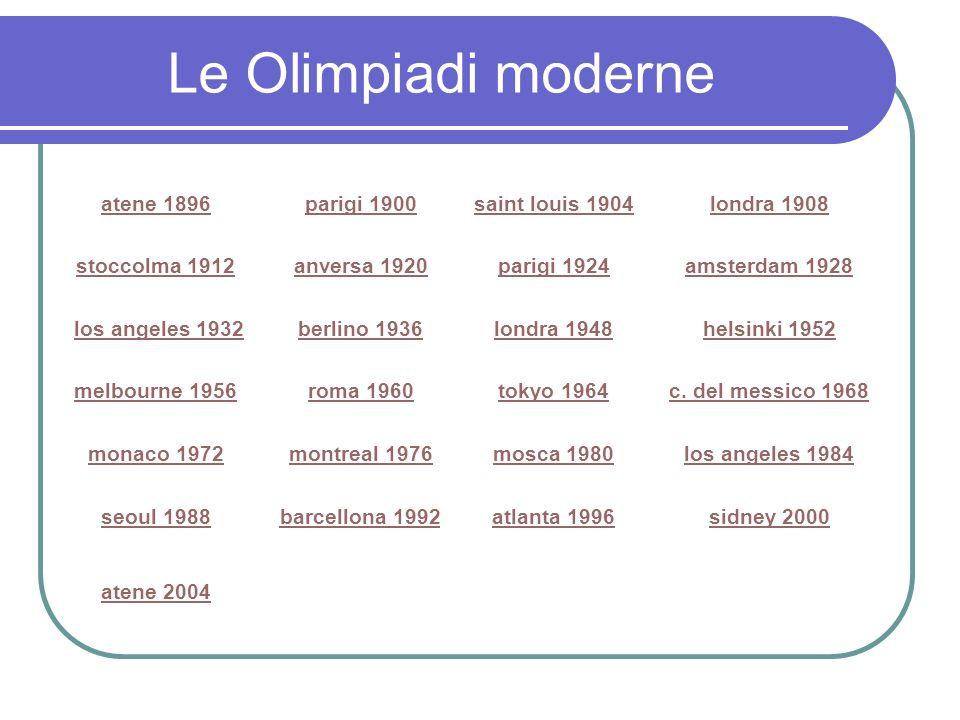 Le Olimpiadi moderne atene 1896 parigi 1900 saint louis 1904