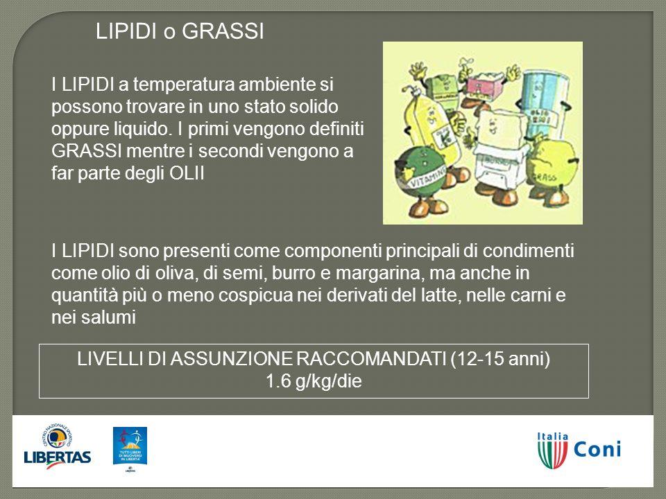 LIVELLI DI ASSUNZIONE RACCOMANDATI (12-15 anni) 1.6 g/kg/die