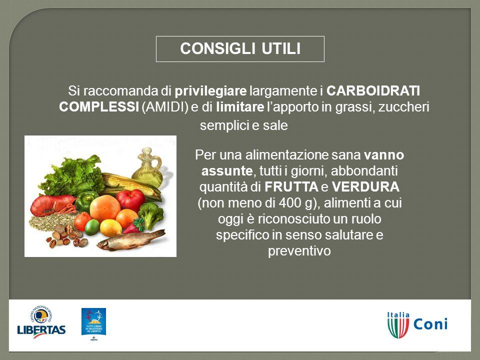CONSIGLI UTILI Si raccomanda di privilegiare largamente i CARBOIDRATI COMPLESSI (AMIDI) e di limitare l'apporto in grassi, zuccheri semplici e sale.