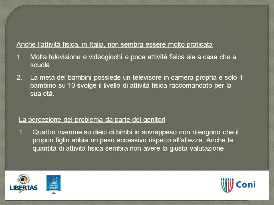 Anche l'attività fisica, in Italia, non sembra essere molto praticata