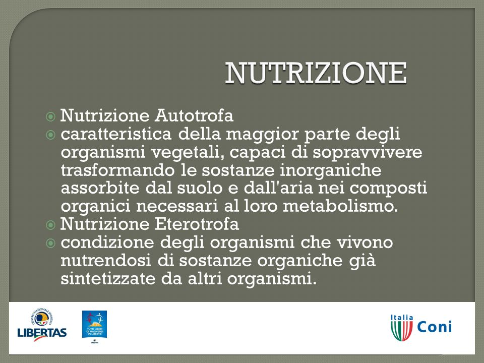 NUTRIZIONE Nutrizione Autotrofa