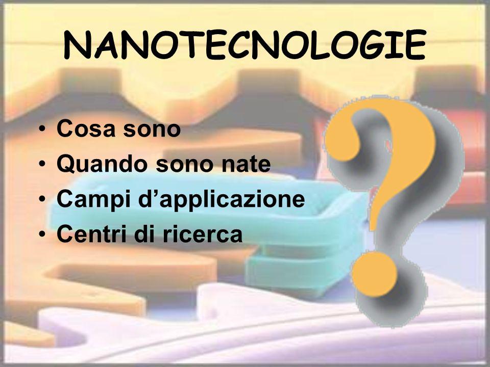 NANOTECNOLOGIE Cosa sono Quando sono nate Campi d'applicazione