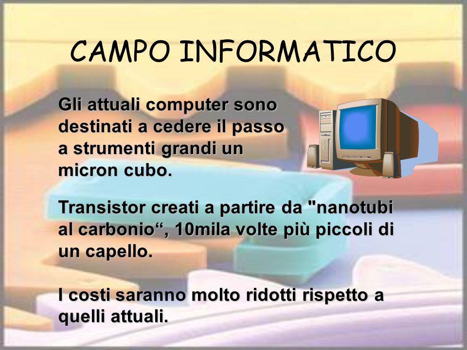 CAMPO INFORMATICO Gli attuali computer sono destinati a cedere il passo a strumenti grandi un micron cubo.