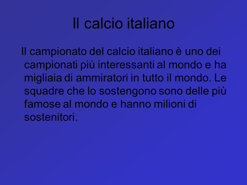 Il calcio italiano
