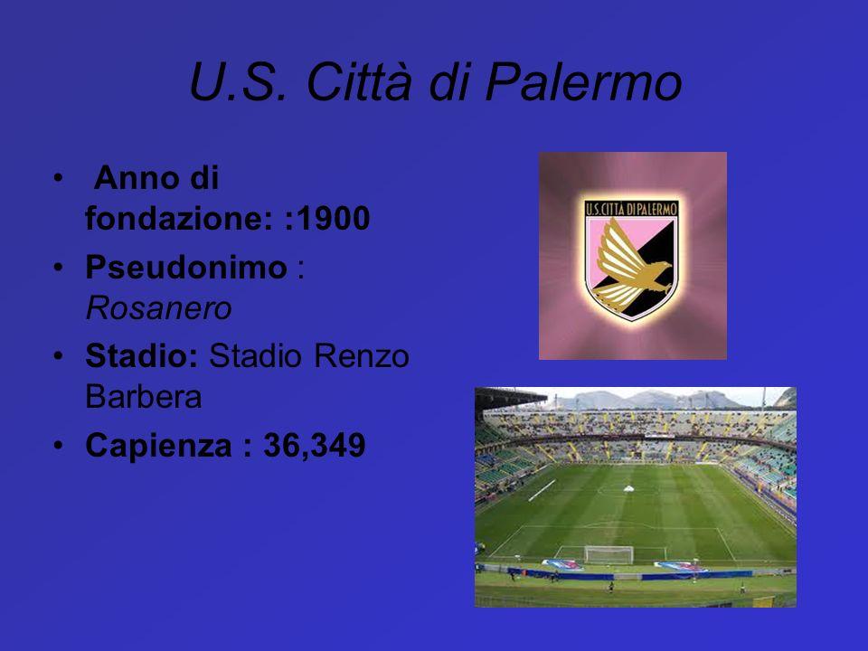 U.S. Città di Palermo Anno di fondazione: :1900 Pseudonimo : Rosanero