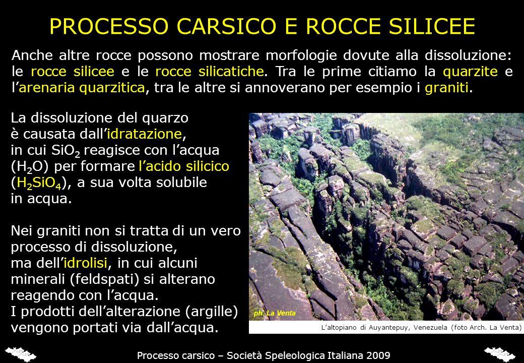 PROCESSO CARSICO E ROCCE SILICEE