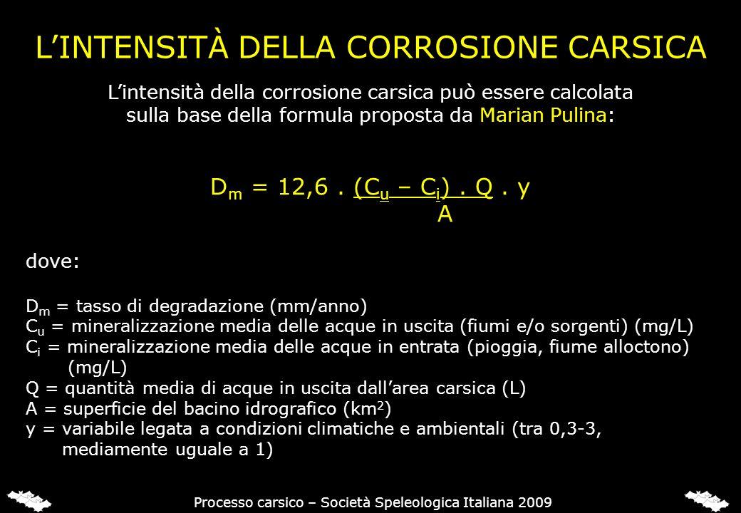 L'INTENSITÀ DELLA CORROSIONE CARSICA
