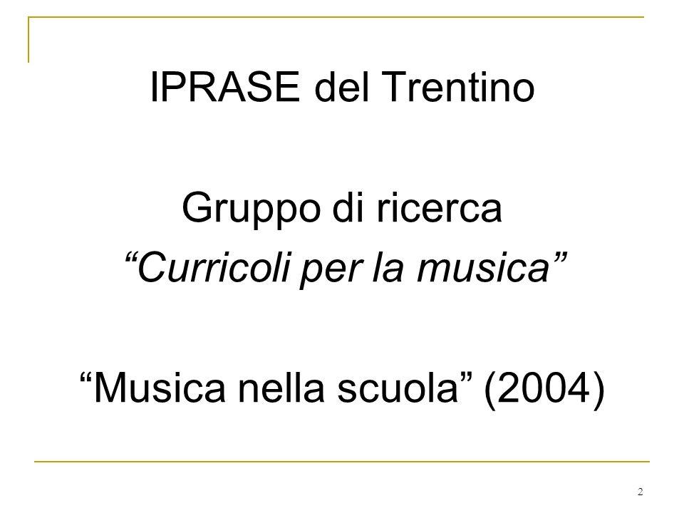 Curricoli per la musica Musica nella scuola (2004)