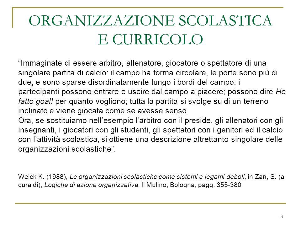ORGANIZZAZIONE SCOLASTICA E CURRICOLO
