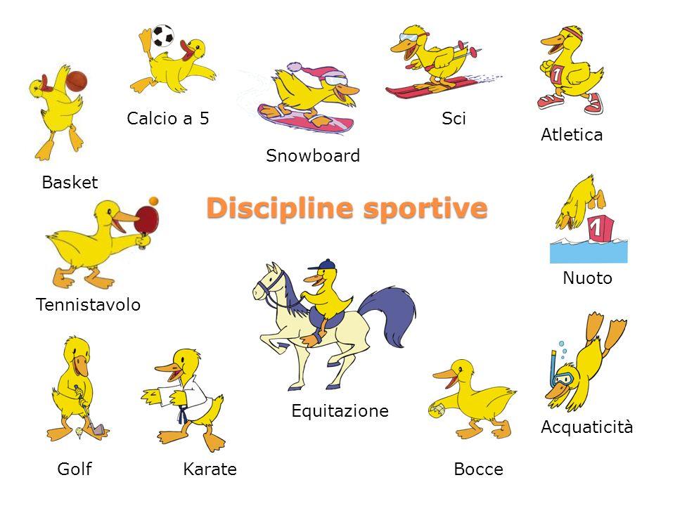 Discipline sportive Calcio a 5 Sci Atletica Snowboard Basket Nuoto
