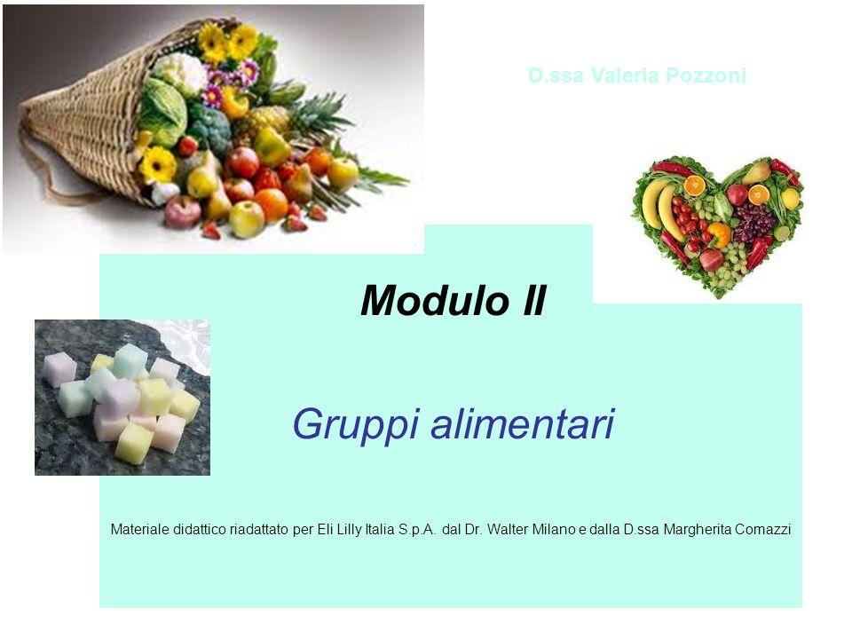 Modulo II Gruppi alimentari D.ssa Valeria Pozzoni