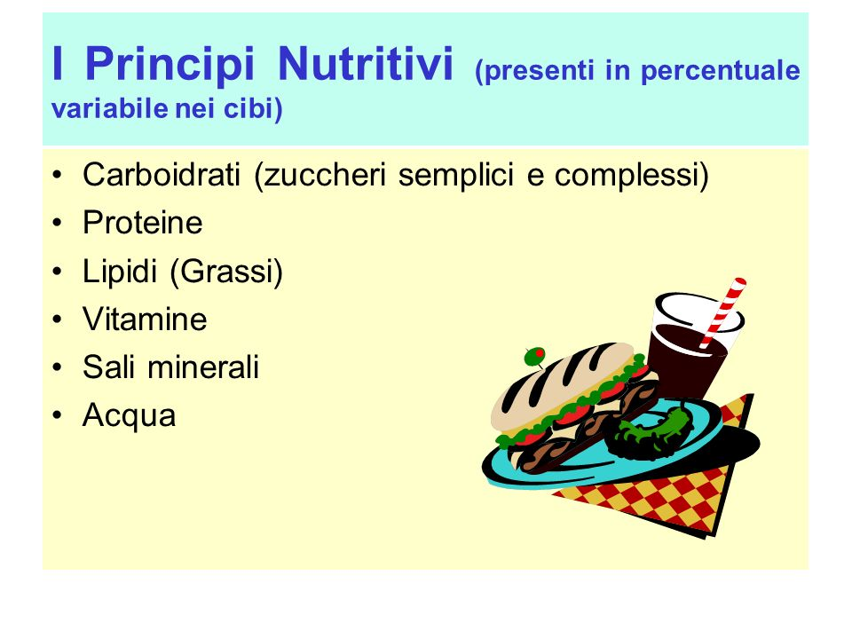 I Principi Nutritivi (presenti in percentuale variabile nei cibi)