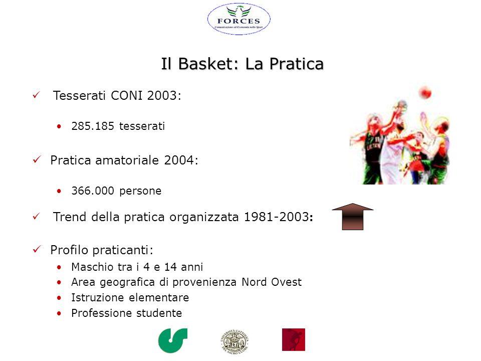 Il Basket: La Pratica Pratica amatoriale 2004: Profilo praticanti: