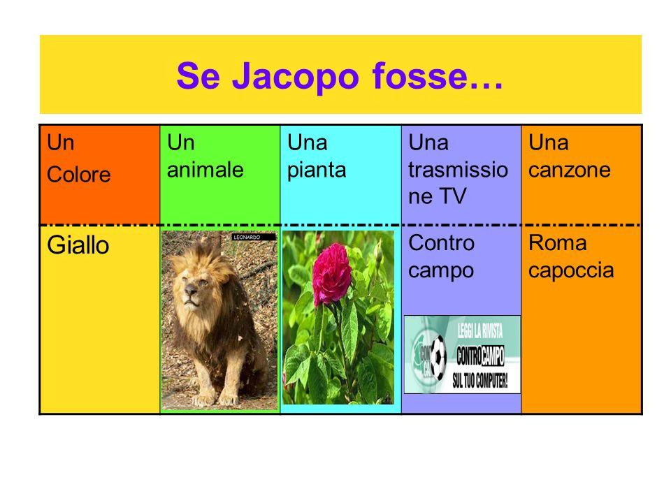 Se Jacopo fosse… Giallo Un Colore Un animale Una pianta
