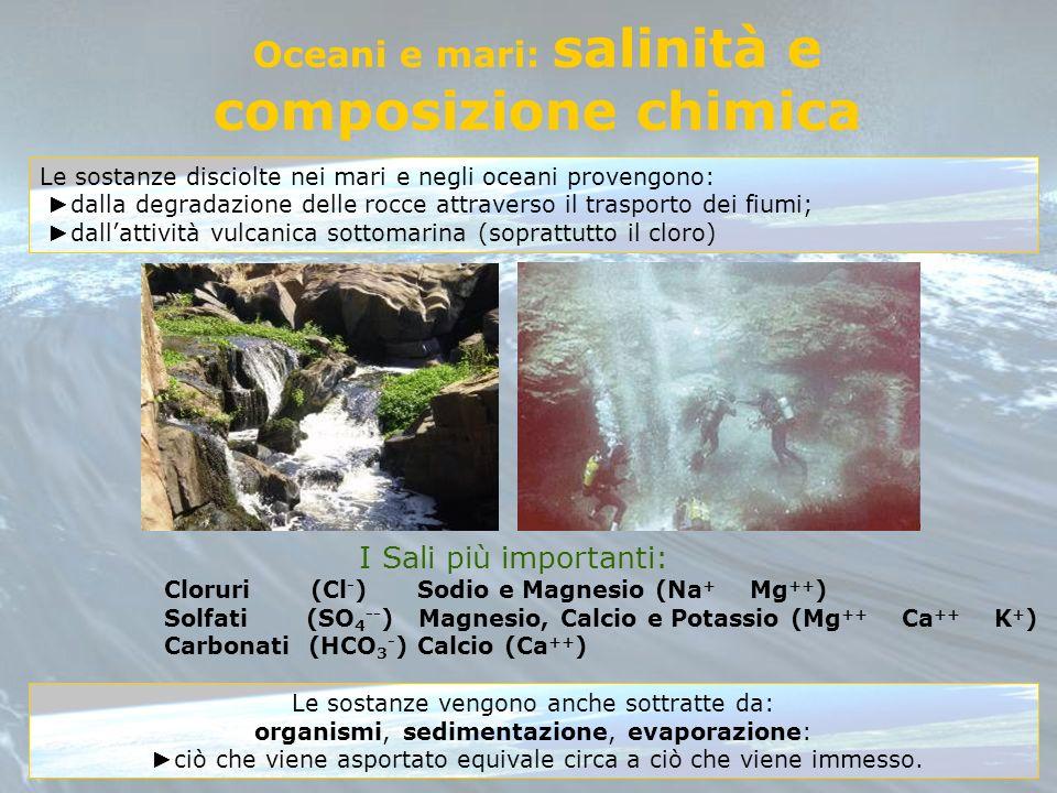 Oceani e mari: salinità e composizione chimica