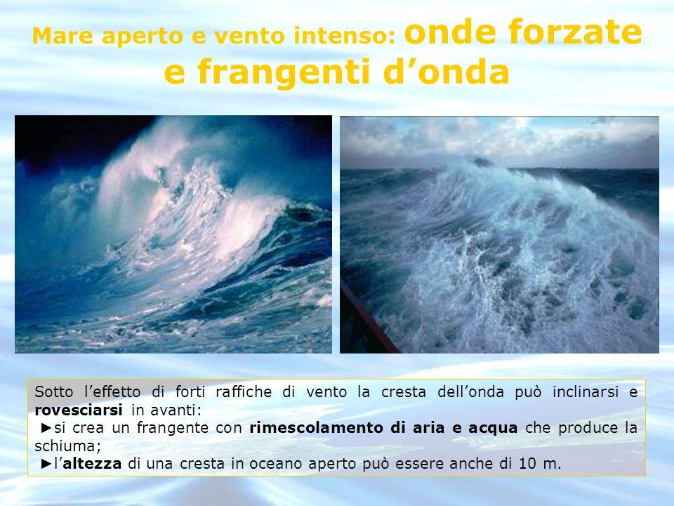 Mare aperto e vento intenso: onde forzate e frangenti d'onda