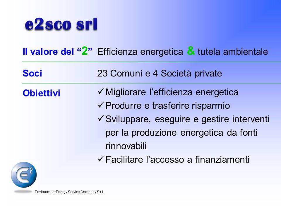 e2sco srl Il valore del 2 Efficienza energetica & tutela ambientale