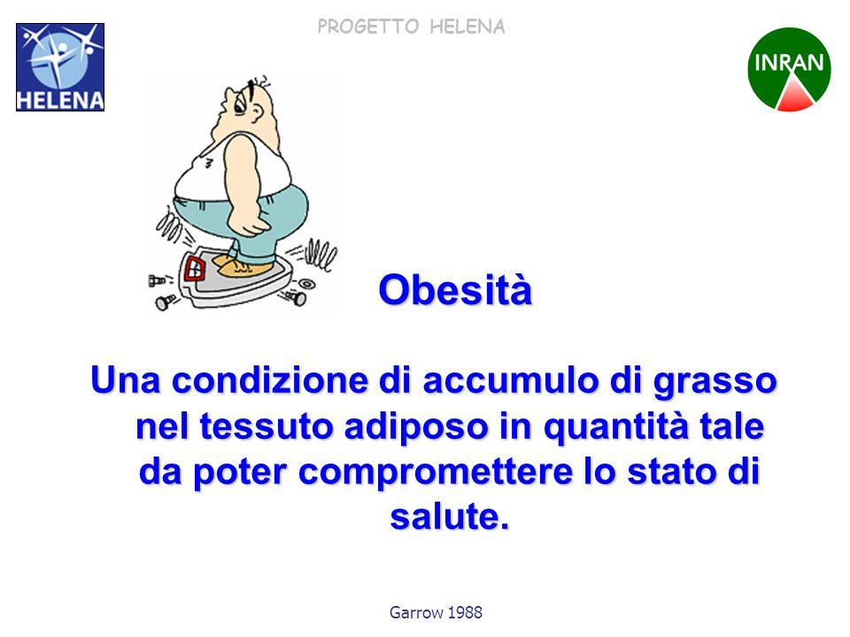 Obesità Una condizione di accumulo di grasso nel tessuto adiposo in quantità tale da poter compromettere lo stato di salute.