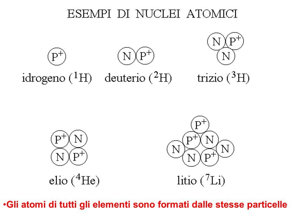 Gli atomi di tutti gli elementi sono formati dalle stesse particelle