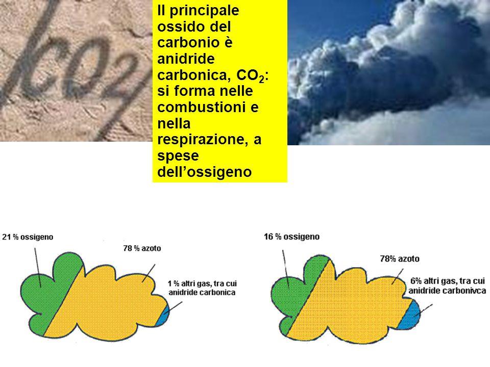 Il principale ossido del carbonio è anidride carbonica, CO2: si forma nelle combustioni e nella respirazione, a spese dell'ossigeno