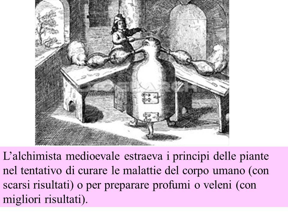 L'alchimista medioevale estraeva i principi delle piante nel tentativo di curare le malattie del corpo umano (con scarsi risultati) o per preparare profumi o veleni (con migliori risultati).