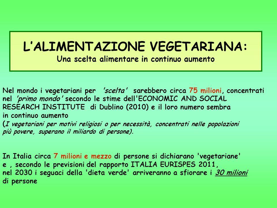 L'ALIMENTAZIONE VEGETARIANA: Una scelta alimentare in continuo aumento