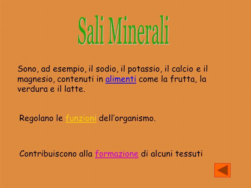 Sali Minerali Sono, ad esempio, il sodio, il potassio, il calcio e il magnesio, contenuti in alimenti come la frutta, la verdura e il latte.
