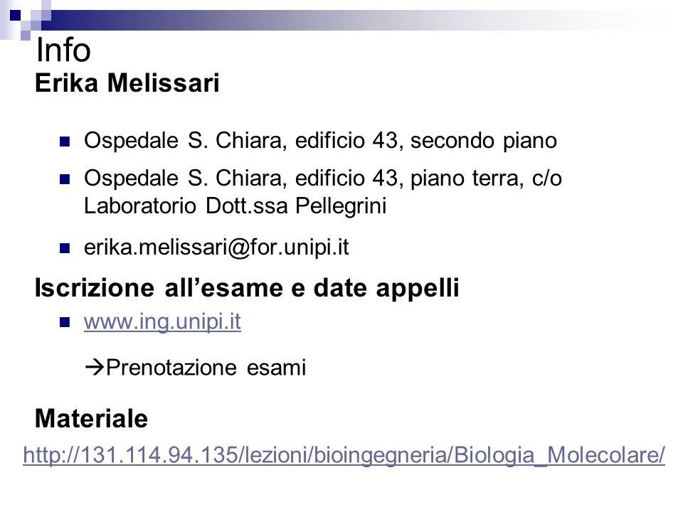 Info Erika Melissari Iscrizione all'esame e date appelli Materiale