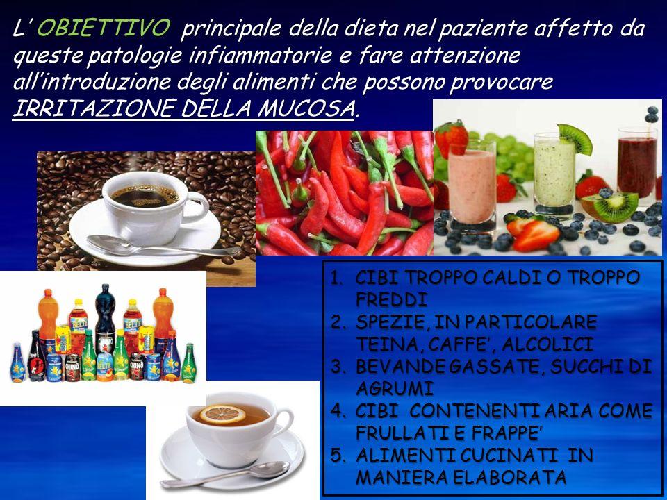 L' OBIETTIVO principale della dieta nel paziente affetto da queste patologie infiammatorie e fare attenzione all'introduzione degli alimenti che possono provocare IRRITAZIONE DELLA MUCOSA.