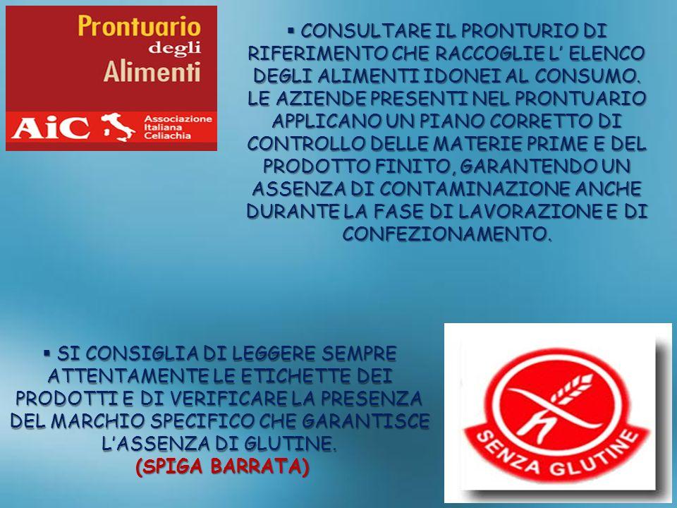 CONSULTARE IL PRONTURIO DI RIFERIMENTO CHE RACCOGLIE L' ELENCO DEGLI ALIMENTI IDONEI AL CONSUMO.