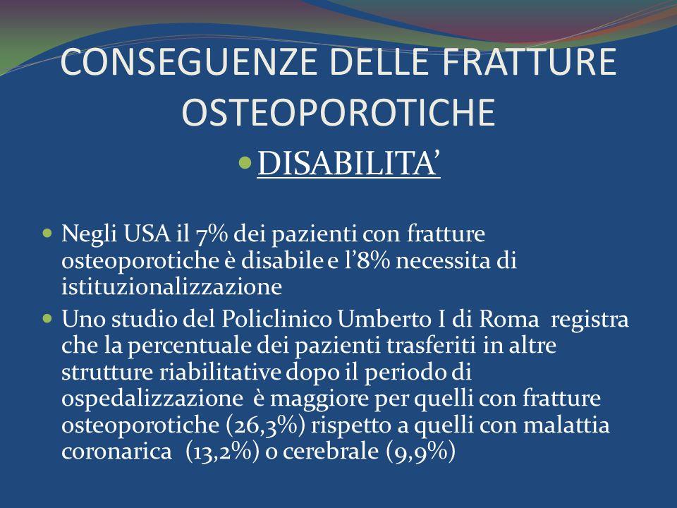 CONSEGUENZE DELLE FRATTURE OSTEOPOROTICHE