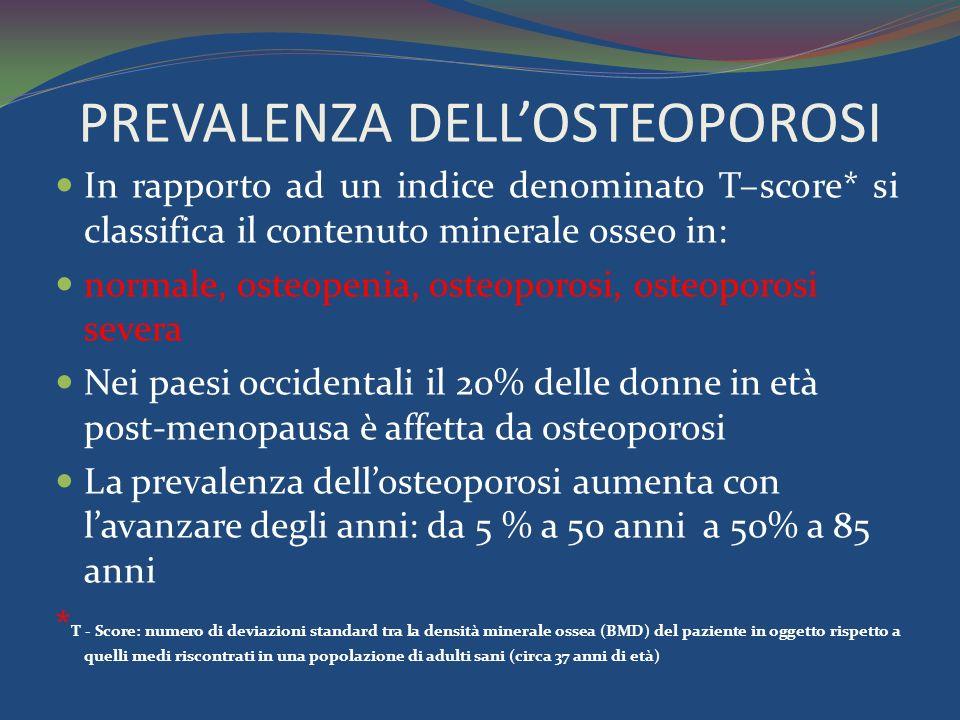 PREVALENZA DELL'OSTEOPOROSI