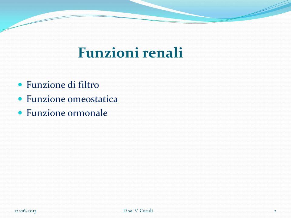 Funzioni renali Funzione di filtro Funzione omeostatica