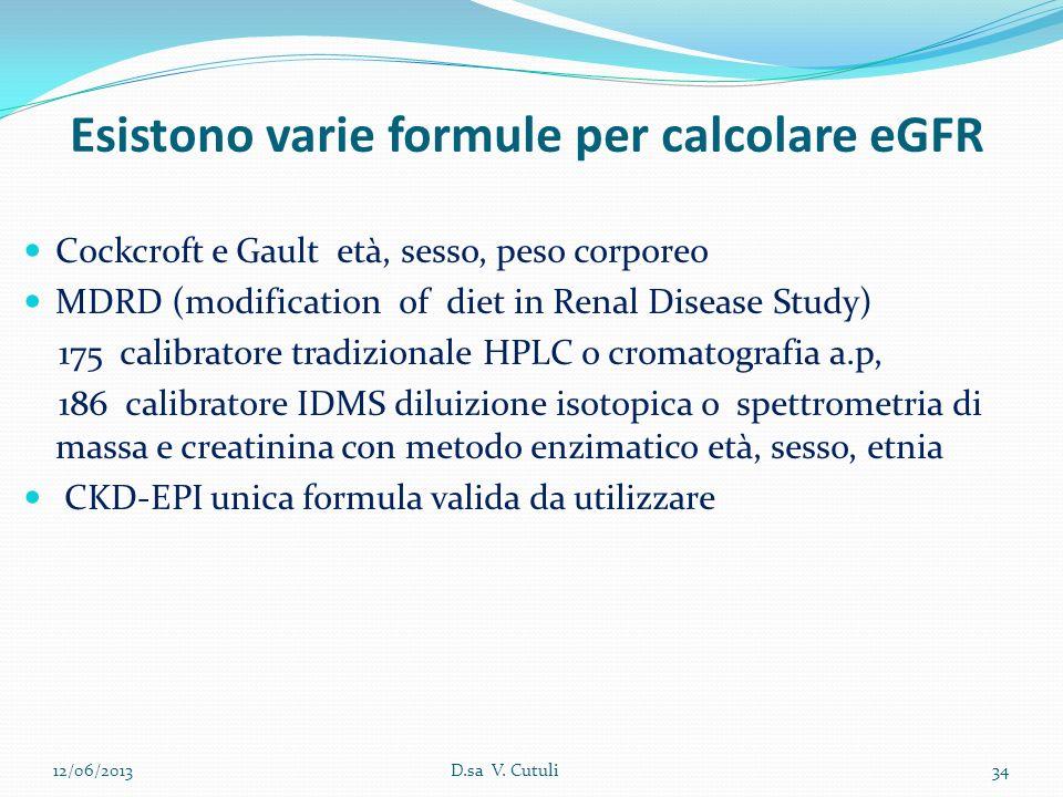 Esistono varie formule per calcolare eGFR
