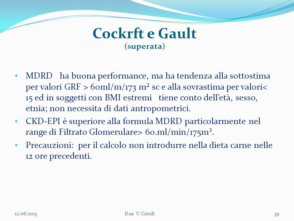 Cockrft e Gault (superata)