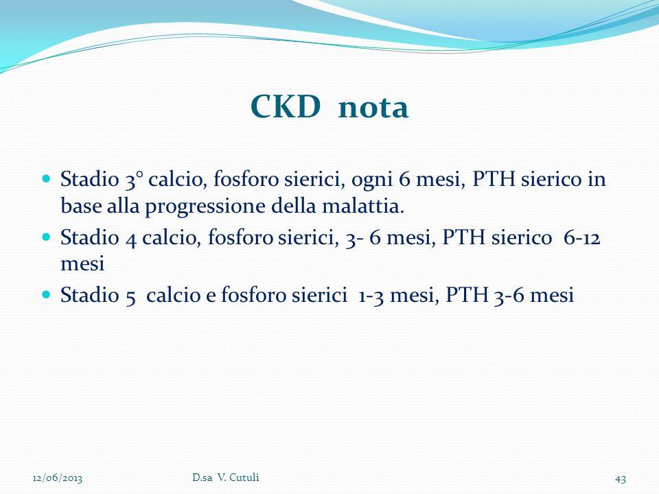 CKD nota Stadio 3° calcio, fosforo sierici, ogni 6 mesi, PTH sierico in base alla progressione della malattia.