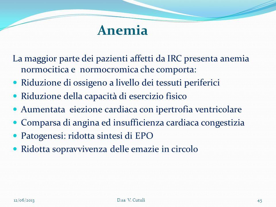Anemia La maggior parte dei pazienti affetti da IRC presenta anemia normocitica e normocromica che comporta: