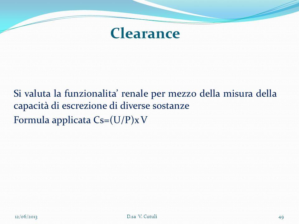 Clearance Si valuta la funzionalita' renale per mezzo della misura della capacità di escrezione di diverse sostanze.