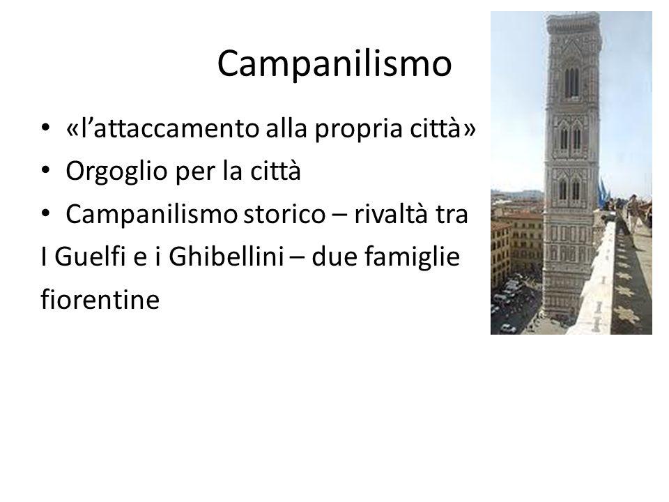 Campanilismo «l'attaccamento alla propria città» Orgoglio per la città