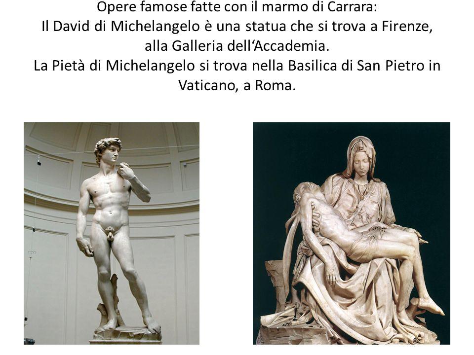 Opere famose fatte con il marmo di Carrara: Il David di Michelangelo è una statua che si trova a Firenze, alla Galleria dell'Accademia.