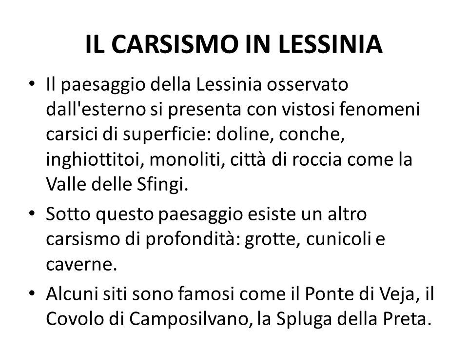 IL CARSISMO IN LESSINIA