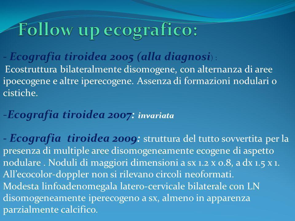 Follow up ecografico: - Ecografia tiroidea 2005 (alla diagnosi) :