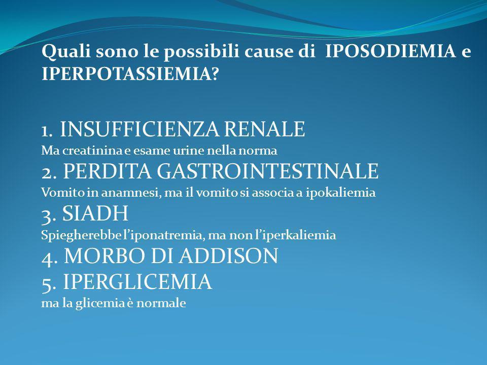 2. PERDITA GASTROINTESTINALE 3. SIADH 4. MORBO DI ADDISON