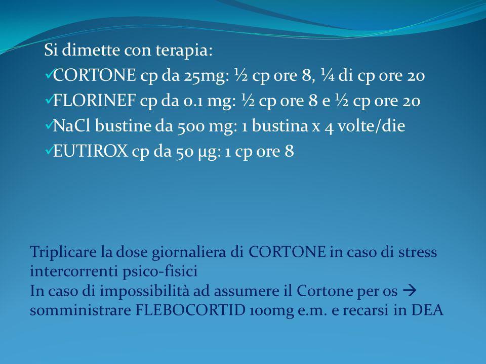 Si dimette con terapia: CORTONE cp da 25mg: ½ cp ore 8, ¼ di cp ore 20