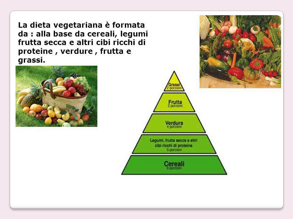 La dieta vegetariana è formata da : alla base da cereali, legumi frutta secca e altri cibi ricchi di proteine , verdure , frutta e grassi.