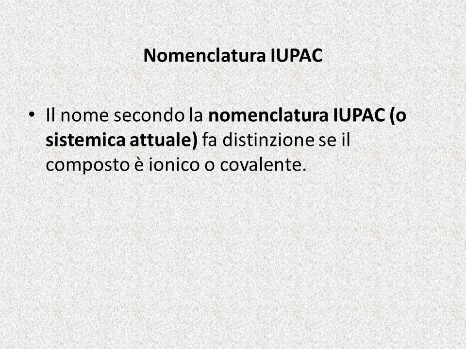 Nomenclatura IUPAC Il nome secondo la nomenclatura IUPAC (o sistemica attuale) fa distinzione se il composto è ionico o covalente.