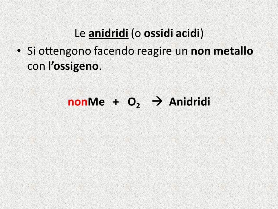 Le anidridi (o ossidi acidi)