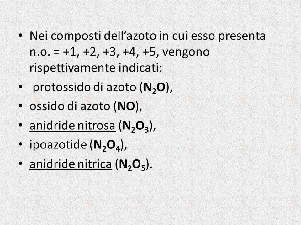 Nei composti dell'azoto in cui esso presenta n. o